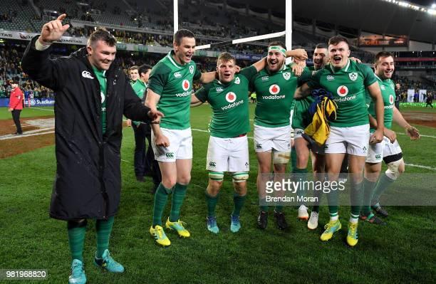 Sydney Australia 23 June 2018 Ireland players from left Peter O'Mahony Jonathan Sexton Jordi Murphy Rob Herring Rob Kearney and Jacob Stockdale...