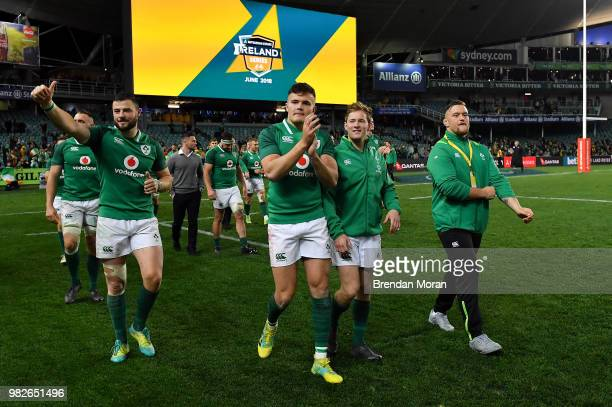 Sydney Australia 23 June 2018 Ireland players from left Robbie Henshaw Jacob Stockdale Kieran Marmion and Andrew Porter celebrate after the 2018...