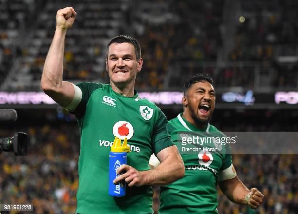 Sydney Australia 23 June 2018 Ireland players Jonathan Sexton left and Bundee Aki celebrate at the final whistle of the 2018 Mitsubishi Estate...