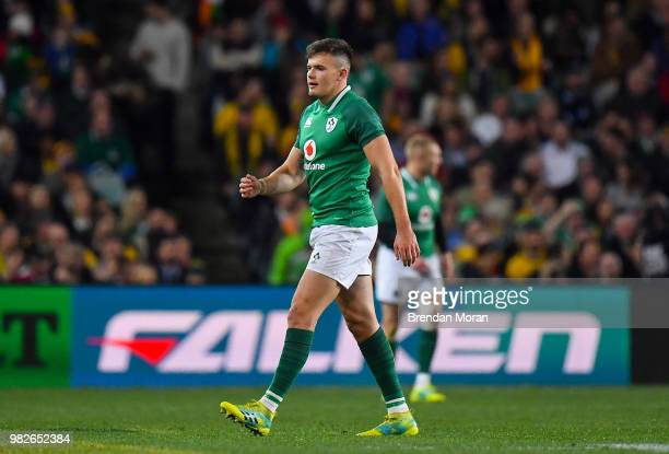 Sydney Australia 23 June 2018 Jacob Stockdale of Ireland leaves the pitch after receiving a yellow card during the 2018 Mitsubishi Estate Ireland...
