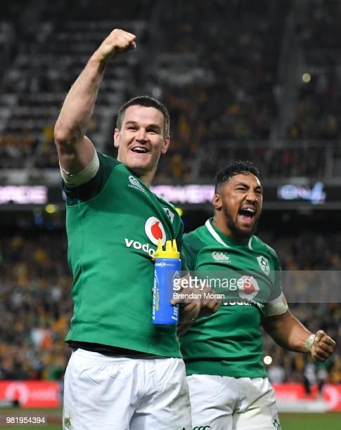 Sydney Australia 23 June 2018 Jonathan Sexton left and Bundee Aki of Ireland celebrate following the 2018 Mitsubishi Estate Ireland Series 3rd Test...