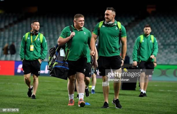 Sydney Australia 23 June 2018 Tadhg Furlong left and Jack Conan of Ireland arrive prior to the 2018 Mitsubishi Estate Ireland Series 3rd Test match...