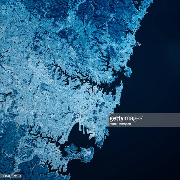 sydney australia 3d render map blue top view jul 2019 - frank ramspott stock pictures, royalty-free photos & images