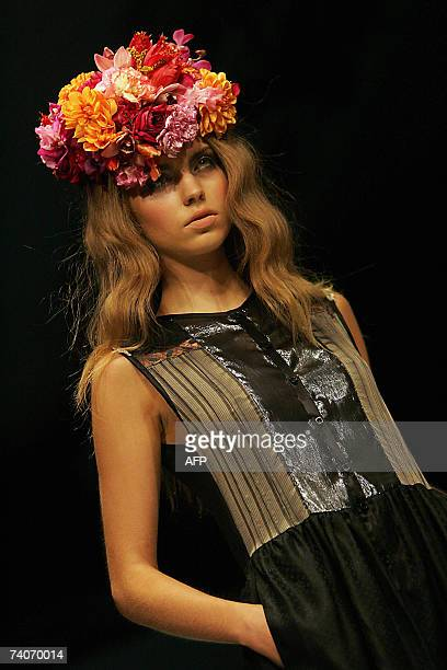 A model parades on the catwalk with the latest design of Australian fashion designer Marnie Skillings during Fashion week in Sydney 04 May 2007 The...
