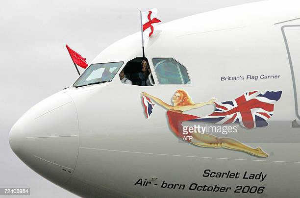 A Virgin Atlantic aircraft carrying the England Cricket team flys the St George flag from the cockpit after arriving at Sydney International Airport...