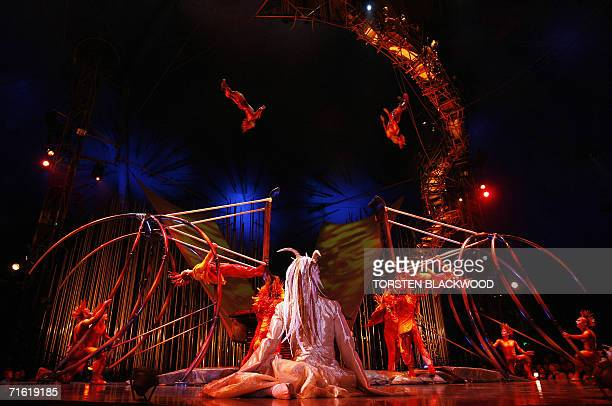 Acrobats perform on the Russian swings during the final dress rehearsal for Cirque du Soleil's 'Varekai' on the eve of its Australian premier in...