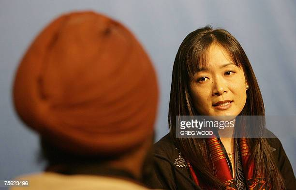 Annette Sohn Assistant Professor of Pediatric Infectious Diseases at the University of California speaks to a journalist 25 July 2007 during the 4th...