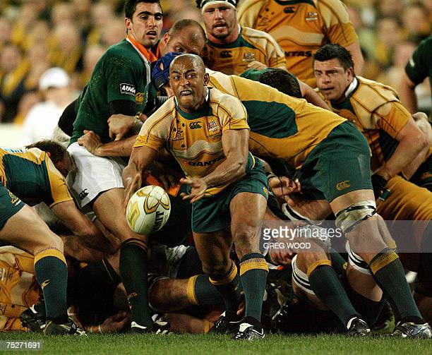 Australia's George Gregan releases the ball during the Tri-Nations rugby union Test against South Africa in Sydney, 07 July 2007. Australia currently...
