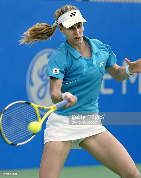 Elena Dementieva of Russia plays a shot in her match against Ai Sugiyama of Japan at the Sydney International tennis tournament 08 January 2007 The...