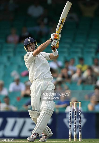 England batsman Kevin Pietersen hits to the boundary during the three-day match against New South Wales in Sydney, 13 November 2006. England are...