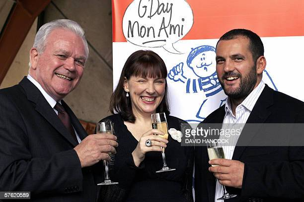 French trade commissioner JeanLouis Latour Australian author and Francophile Lucinda Holdforth and celebrated chef Guillaume Brahimi toast the launch...