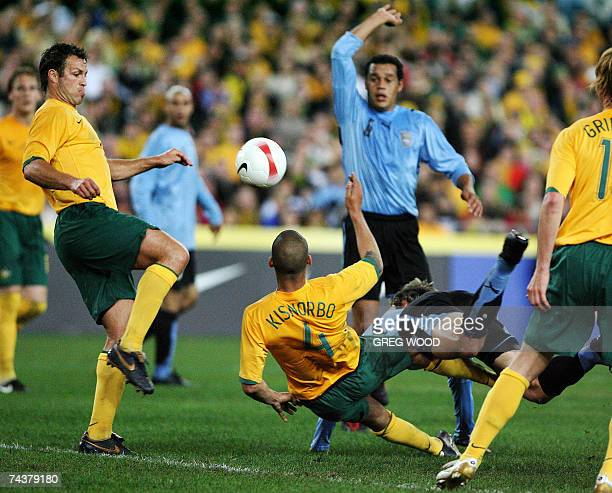 Lucas Neill of Australia traps the ball during their football friendly against Uruguay at Telstra Stadium in Sydney, 02 June 2007. Uruguay were...