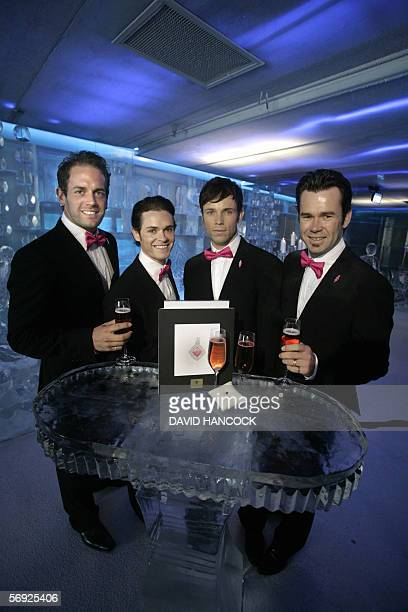 """Members of Australia's premiere vocal group """"Human Nature"""" Toby Allen, Michael Tierney, Andrew Tierney and Phil Burton raise a glass of pink..."""