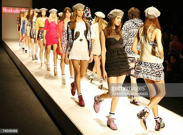 Model parade colourful and chic outfits by Sydneybased designer Jessie White's label 'Shakuhachi' during Australian Fashion Week in Sydney 02 May...