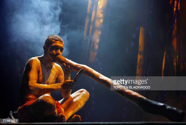 Ngemba Aborigine David Little plays the didgeridoo during the opening ceremony of the inaugural First Nations Economic Opportunities Conference in...