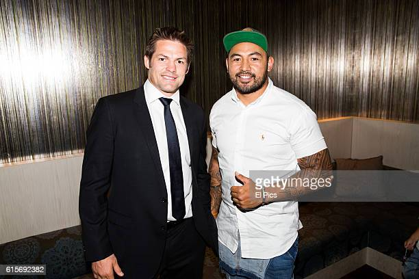 Richie McCaw and Krisnan Inu attend the premiere of the Richie McCaw film 'Chasing Great' at Event Cinemas on October 18 2016 in Sydney Australia