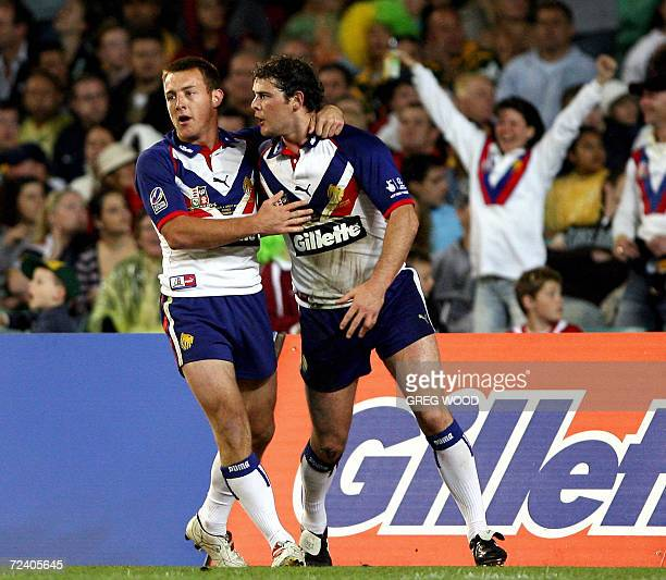 Paul Wellens of Great Britain is congratulated by a teammate after scoring a try during the Tri-Nations rugby league Test against Australia in...