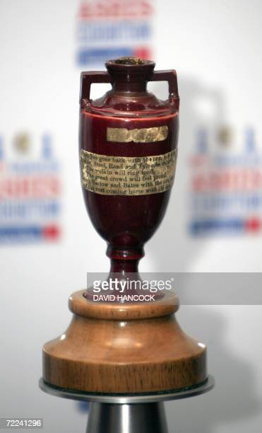 The original Ashes Urn sits in a protective display case in the Museum of Sydney 20 October 2006 The 124 yearold Ashes is the centrepiece of an...