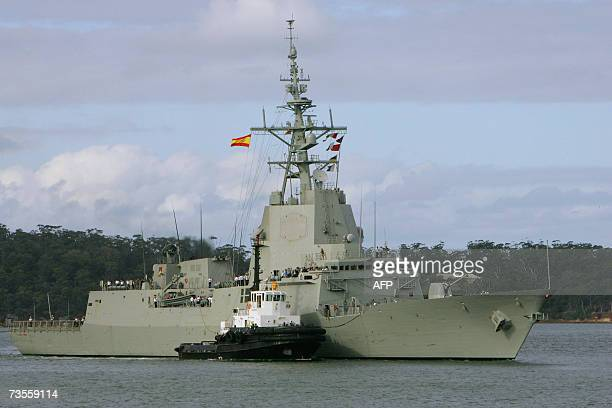 The Spanish warship 'Alvaro De Bazan' arrives at Woolloomooloo Bay in Sydney 13 March 2007 The F100 class warship is one of the design options being...