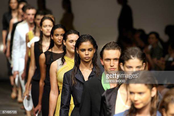 """AFPLifestyle-fashion-Australia,sched-FEATURE"""" Models parade fashions from the Zambesi label during Australian Fashion Week in Sydney, 28 April 2006...."""