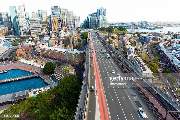 Sydney Australia, view from Harbour Bridge tower, copy space