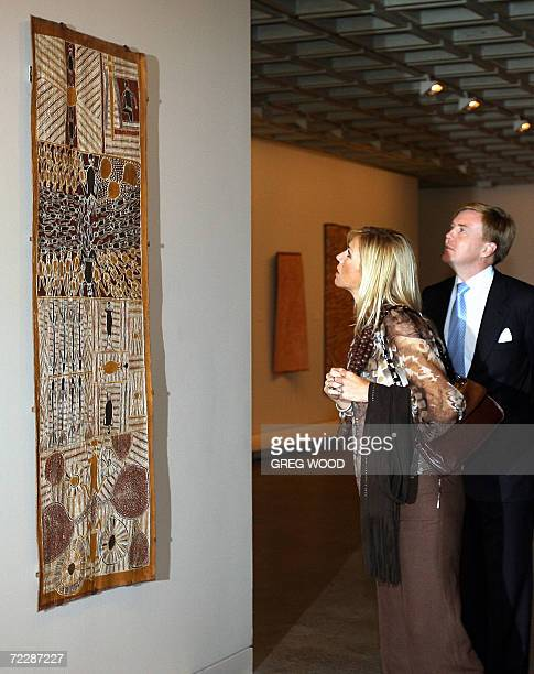 """Willem-Alexander the Prince of Orange and Princess Maxima of the Netherlands , admire a painting from the """"Yiribana"""" Australian Aboriginal Art..."""