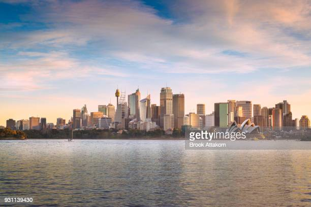 sydney building during sunset. - sydney stock pictures, royalty-free photos & images