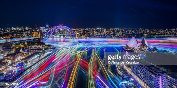 sydney by night long exposure with illuminated ferries - sydney - fotografias e filmes do acervo