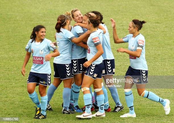 Sydney celebrate a goal by Nicola Bolger during the W-League semi final match between Sydney FC and the Melbourne Victory at Campbelltown Sports...