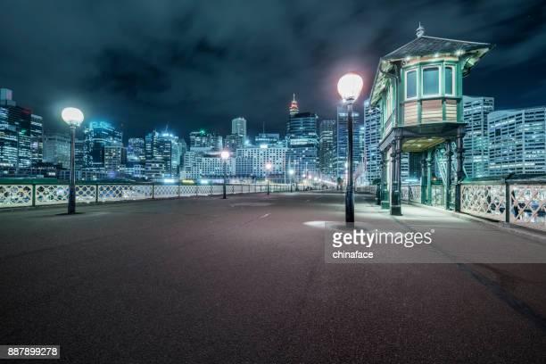 Sydney central Pyrmont bridge at night