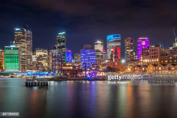 Sydney city at night during vivid Sydney festival