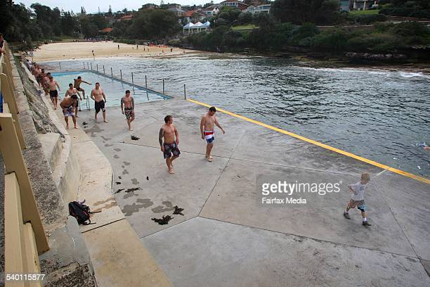 Sydney City Roosters in a recovery session at Clovelly Beach in Sydney's East following their victory over the Panthers in last night's sudden death...