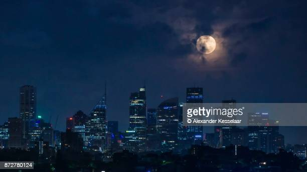 sydney cityscape - night stock pictures, royalty-free photos & images