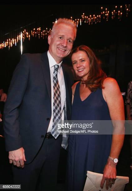 Sydney coach Andrew Gaze poses with wife Melinda during the 2017 NBL MVP Awards Night at Peninsula on February 13 2017 in Melbourne Australia