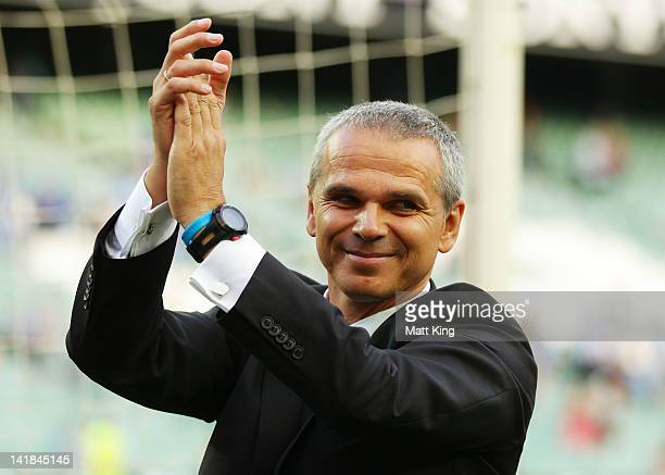 Sydney coach Vitezslav Lavicka acknowledges fans after the round 25 ALeague match between Sydney FC and the Newcastle Jets at Allianz Stadium on...