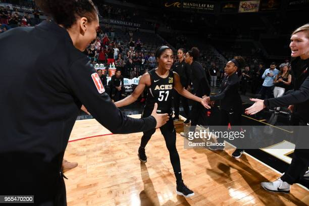 Sydney Colson of the Las Vegas Aces gets introdocued before the game against hte China National Team in a WNBA preseason game on May 6 2018 at the...