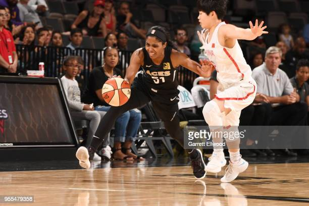 Sydney Colson of the Las Vegas Aces handles the ball against the China National Team in a WNBA preseason game on May 6 2018 at the Mandalay Bay...