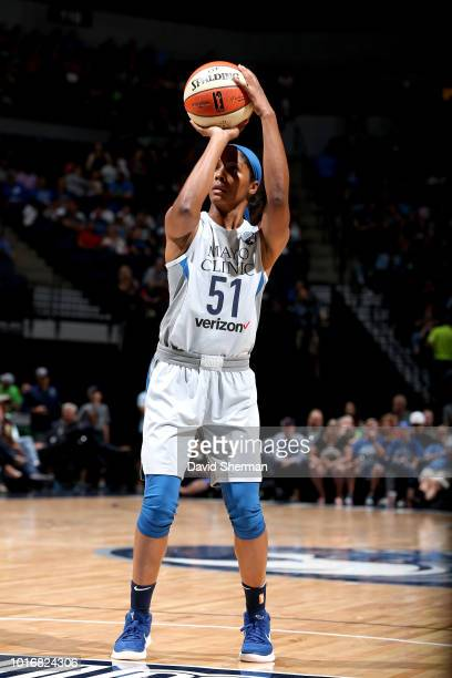 Sydney Colson of the Minnesota Lynx shoots the ball during the game against the Chicago Sky on August 14 2018 at Target Center in Minneapolis...