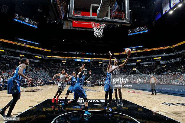 Sydney Colson of the San Antonio Stars shoots the ball against the Minnesota Lynx on September 11 2016 at ATT Center in San Antonio Texas NOTE TO...