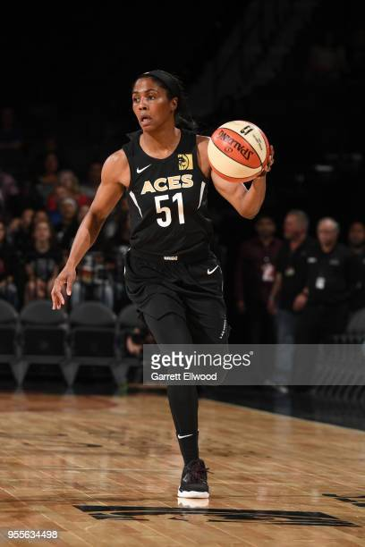 Sydney Colson the Las Vegas Aces dribbles the ball against the China National Team in a WNBA preseason game on May 6 2018 at the Mandalay Bay Events...