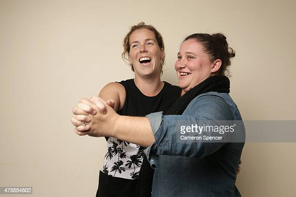 Sydney couple Nikki Rickard and Phillipa Mcnamara pose during a portrait session on May 30 2015 in Sydney Australia Nikki and Phillipa are an engaged...