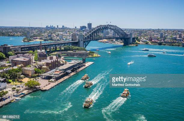 sydney cove and harbour bridge - sydney stock pictures, royalty-free photos & images
