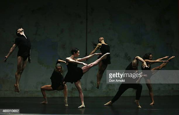 Sydney Dance Company dancers perform excerpts from ''Quintett'' / ''Frame of Mind'' at the Sydney Theatre Company on March 6 2015 in Sydney Australia