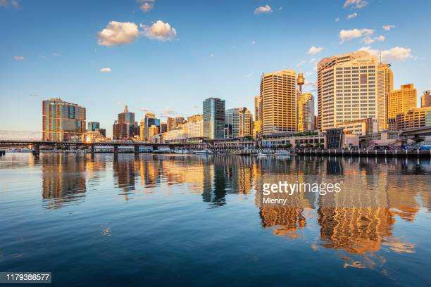 sydney darling harbor cityscape reflections at day australia - pier stock pictures, royalty-free photos & images