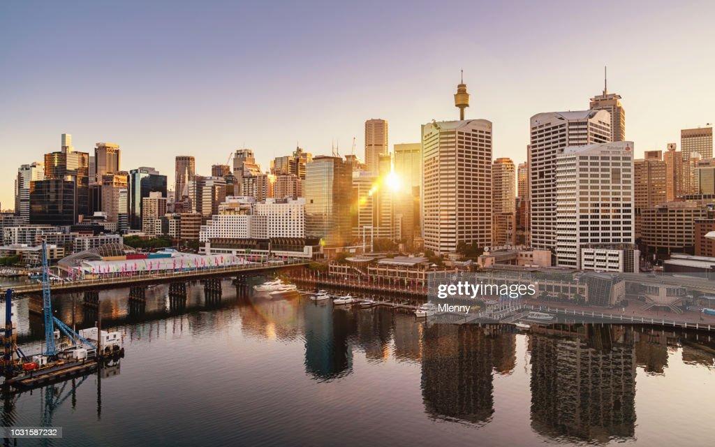 Sydney Darling Harbour Cityscape at Sunrise Australia : Stock Photo