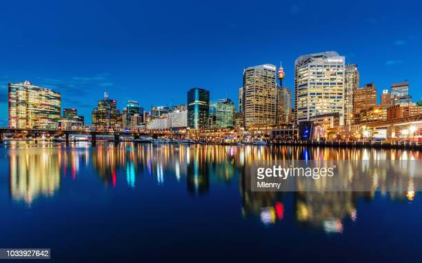 Sydney Darling Harbour Cityscape Reflections at Night Australia