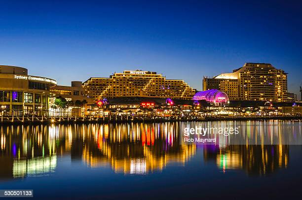 sydney darling harbour night in australia - darling harbour stock pictures, royalty-free photos & images