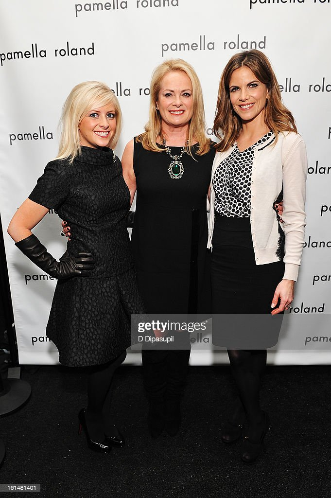 Sydney De Vos, designer Pamella Roland, and Today Show anchor Natalie Morales pose backstage at the Pamella Roland Fall 2013 fashion show during Mercedes-Benz Fashion Week at at The Studio at Lincoln Center on February 11, 2013 in New York City.