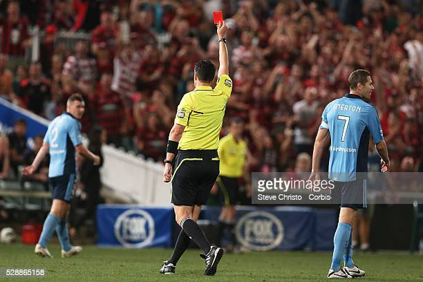 Sydney Derby Sydney FC v Western Sydney Wanderers FC at Parramatta Stadium Sydney's captain Brett Emerton gets a red card for a tackle on Wanderers...