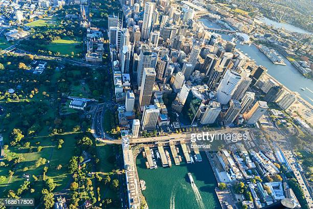 sydney downtown - aerial view - sydney stock pictures, royalty-free photos & images